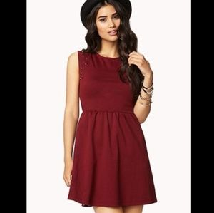 Forever 21 Burgundy A-Line Dress with Studs